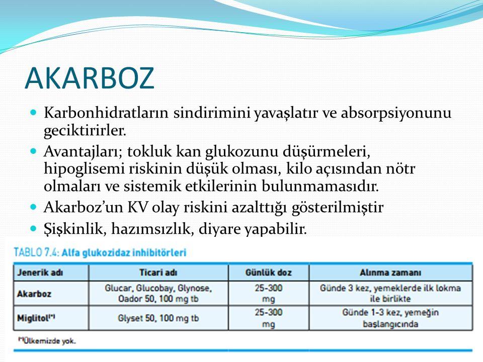 AKARBOZ Karbonhidratların sindirimini yavaşlatır ve absorpsiyonunu geciktirirler. Avantajları; tokluk kan glukozunu düşürmeleri, hipoglisemi riskinin