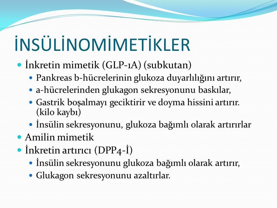 İNSÜLİNOMİMETİKLER İnkretin mimetik (GLP-1A) (subkutan) Pankreas b-hücrelerinin glukoza duyarlılığını artırır, a-hücrelerinden glukagon sekresyonunu b