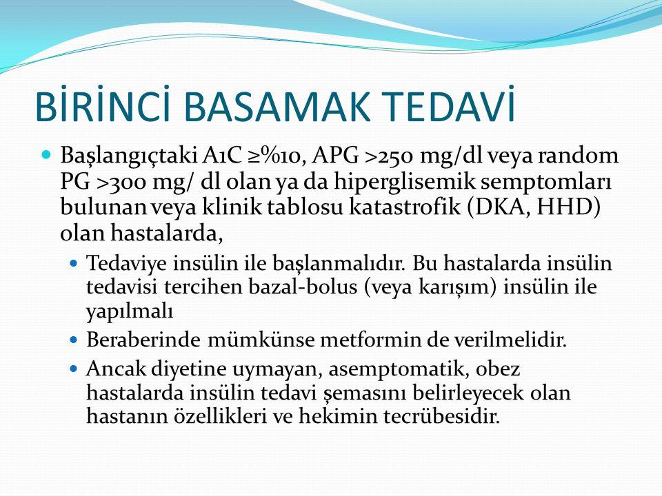 BİRİNCİ BASAMAK TEDAVİ Başlangıçtaki A1C ≥%10, APG >250 mg/dl veya random PG >300 mg/ dl olan ya da hiperglisemik semptomları bulunan veya klinik tabl
