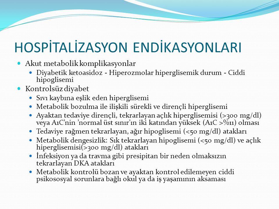 HOSPİTALİZASYON ENDİKASYONLARI Akut metabolik komplikasyonlar Diyabetik ketoasidoz - Hiperozmolar hiperglisemik durum - Ciddi hipoglisemi Kontrolsüz d