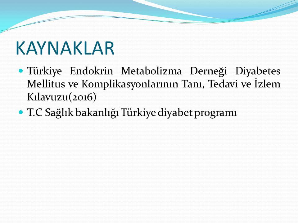 KAYNAKLAR Türkiye Endokrin Metabolizma Derneği Diyabetes Mellitus ve Komplikasyonlarının Tanı, Tedavi ve İzlem Kılavuzu(2016) T.C Sağlık bakanlığı Tür