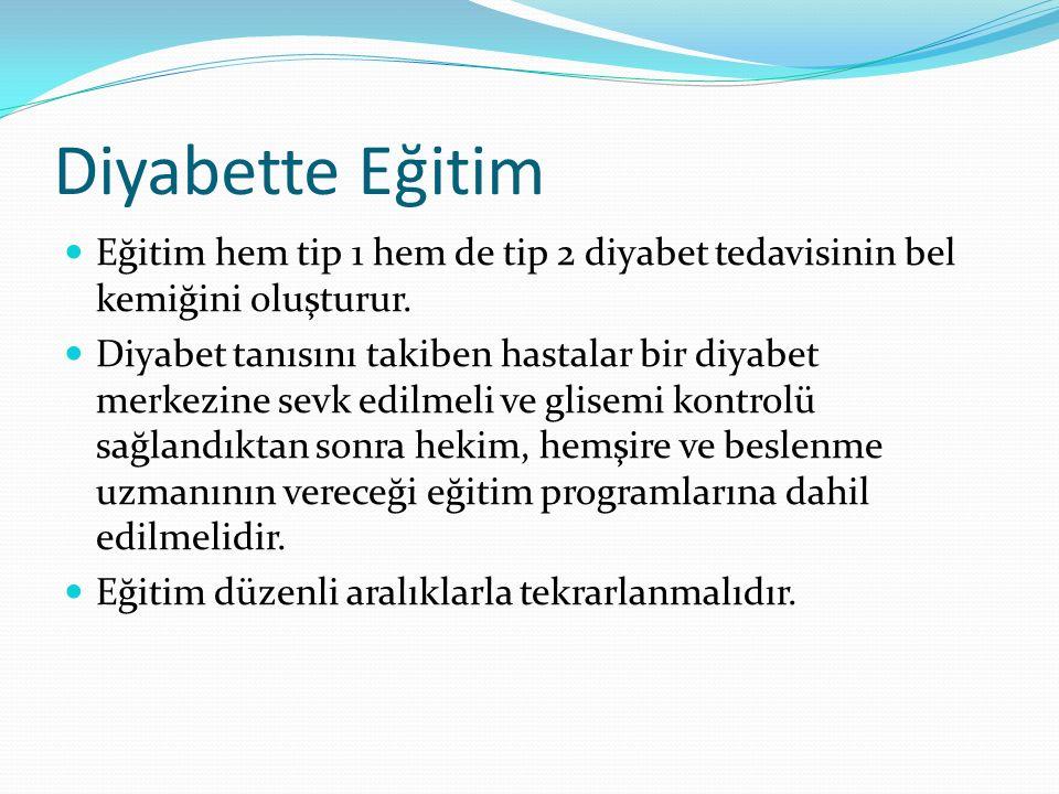 Diyabette Eğitim Tip 1 DM de eğitim Neyi ne zaman yiyeceğini, Egzersiz esnasında ve sonrasında ne yapacağını, Günde 4-8 defa evde glukoz ölçümü (SMBG) yapmayı, Günde 2-5 kez insülin injeksiyonu yapmayı, Hipoglisemi belirtileri ve tedavisini, Gereğinde glukagon injeksiyonu yapmayı, Hipoglisemi veya hiperglisemi korkusuna bağlı anksiyete ile başetmeyi,