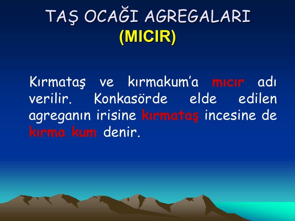 Deniz Agregaları Bunlar tekdüze taneli ve genellikle ince malzemelerdir.