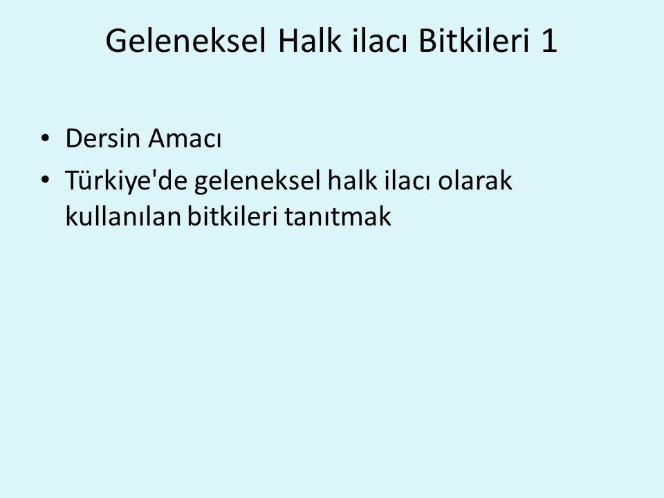 Geleneksel Halk ilacı Bitkileri 1 Dersin Amacı Türkiye de geleneksel halk ilacı olarak kullanılan bitkileri tanıtmak