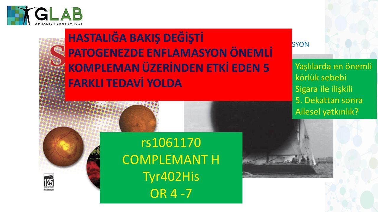 YAŞA BAĞLI MAKÜLER DEJENERASYON rs1061170 COMPLEMANT H Tyr402His OR 4 -7 Yaşlılarda en önemli körlük sebebi Sigara ile ilişkili 5. Dekattan sonra Aile