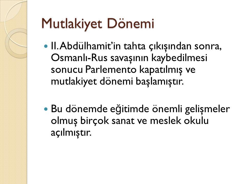 Mutlakiyet Dönemi II. Abdülhamit'in tahta çıkışından sonra, Osmanlı-Rus savaşının kaybedilmesi sonucu Parlemento kapatılmış ve mutlakiyet dönemi başla