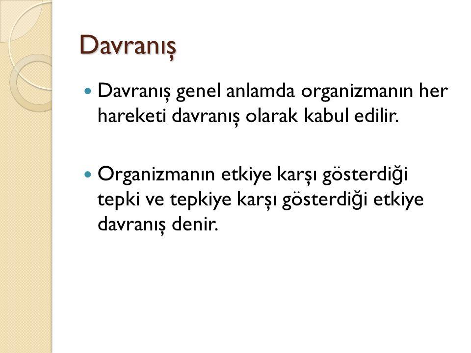 Davranış Davranış genel anlamda organizmanın her hareketi davranış olarak kabul edilir.
