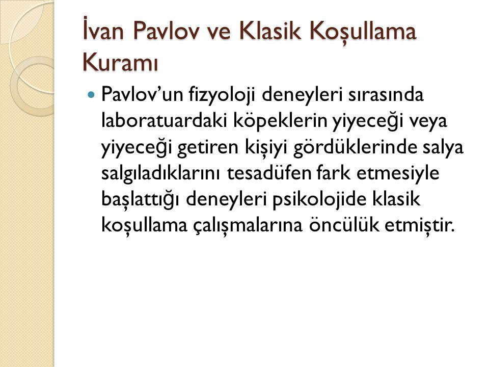 İ van Pavlov ve Klasik Koşullama Kuramı Pavlov'un fizyoloji deneyleri sırasında laboratuardaki köpeklerin yiyece ğ i veya yiyece ğ i getiren kişiyi gö