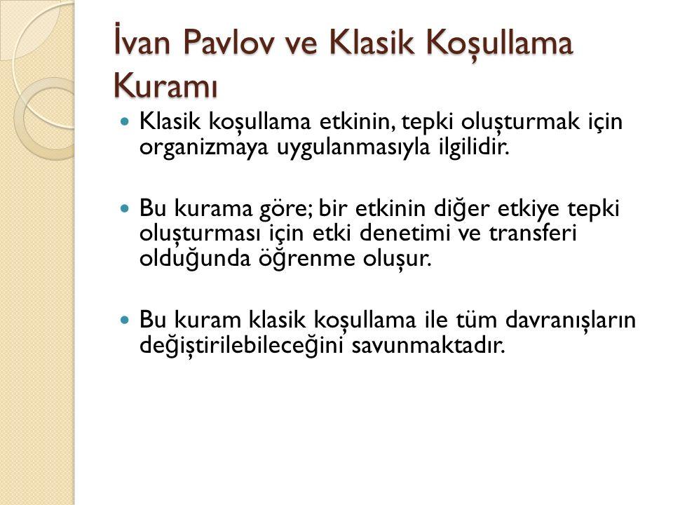 İ van Pavlov ve Klasik Koşullama Kuramı Klasik koşullama etkinin, tepki oluşturmak için organizmaya uygulanmasıyla ilgilidir. Bu kurama göre; bir etki