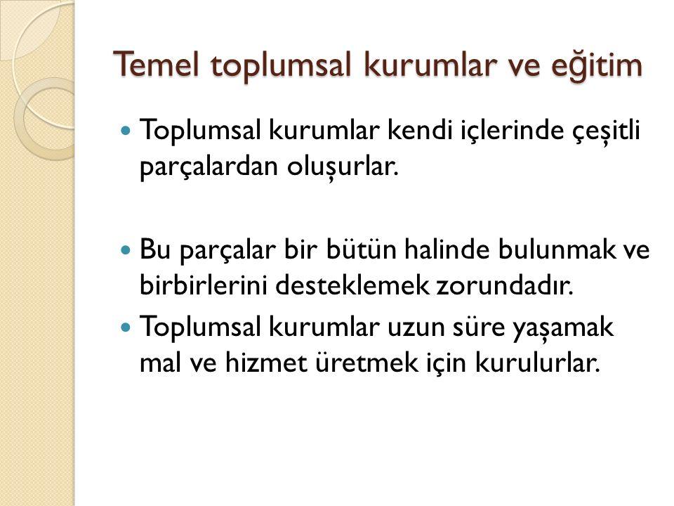 Temel toplumsal kurumlar ve e ğ itim Toplumsal kurumlar kendi içlerinde çeşitli parçalardan oluşurlar.