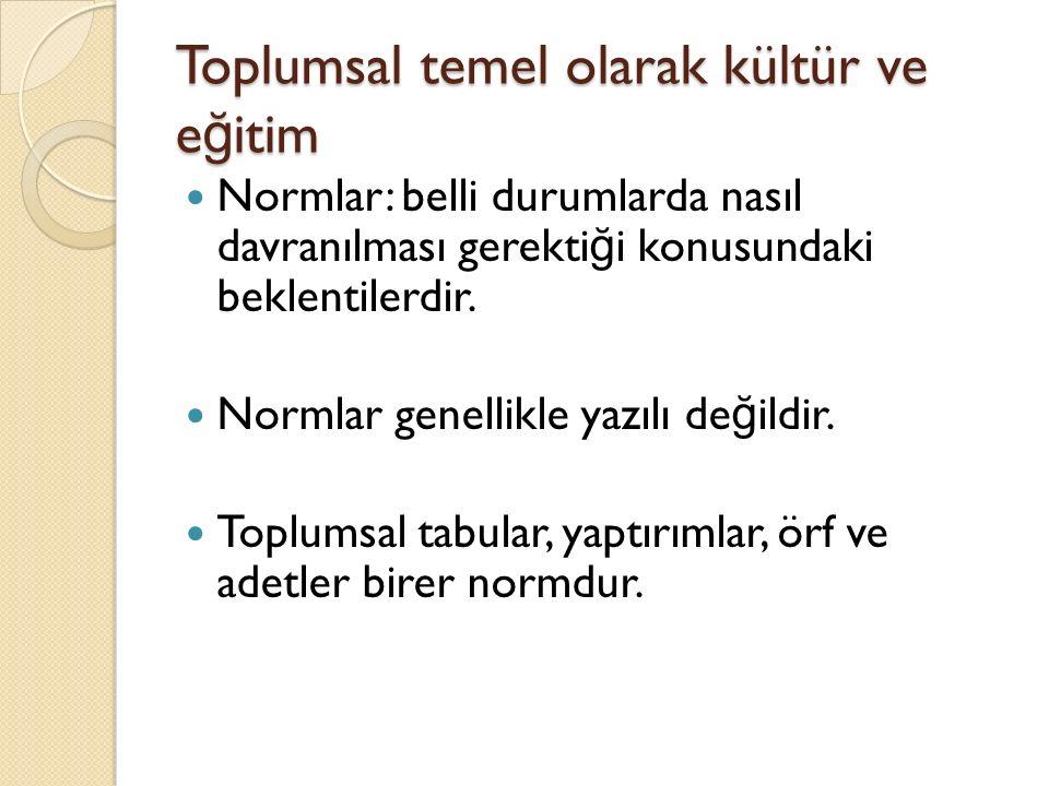 Toplumsal temel olarak kültür ve e ğ itim Normlar: belli durumlarda nasıl davranılması gerekti ğ i konusundaki beklentilerdir.