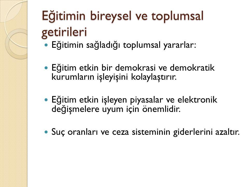 E ğ itimin bireysel ve toplumsal getirileri E ğ itimin sa ğ ladı ğ ı toplumsal yararlar: E ğ itim etkin bir demokrasi ve demokratik kurumların işleyişini kolaylaştırır.