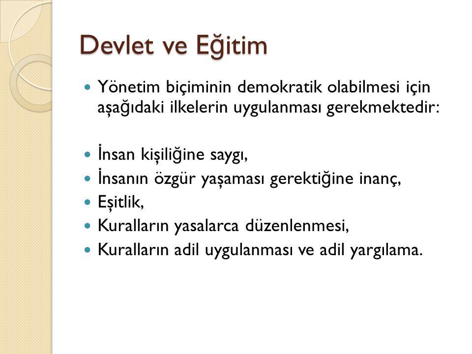 Devlet ve E ğ itim Yönetim biçiminin demokratik olabilmesi için aşa ğ ıdaki ilkelerin uygulanması gerekmektedir: İ nsan kişili ğ ine saygı, İ nsanın ö