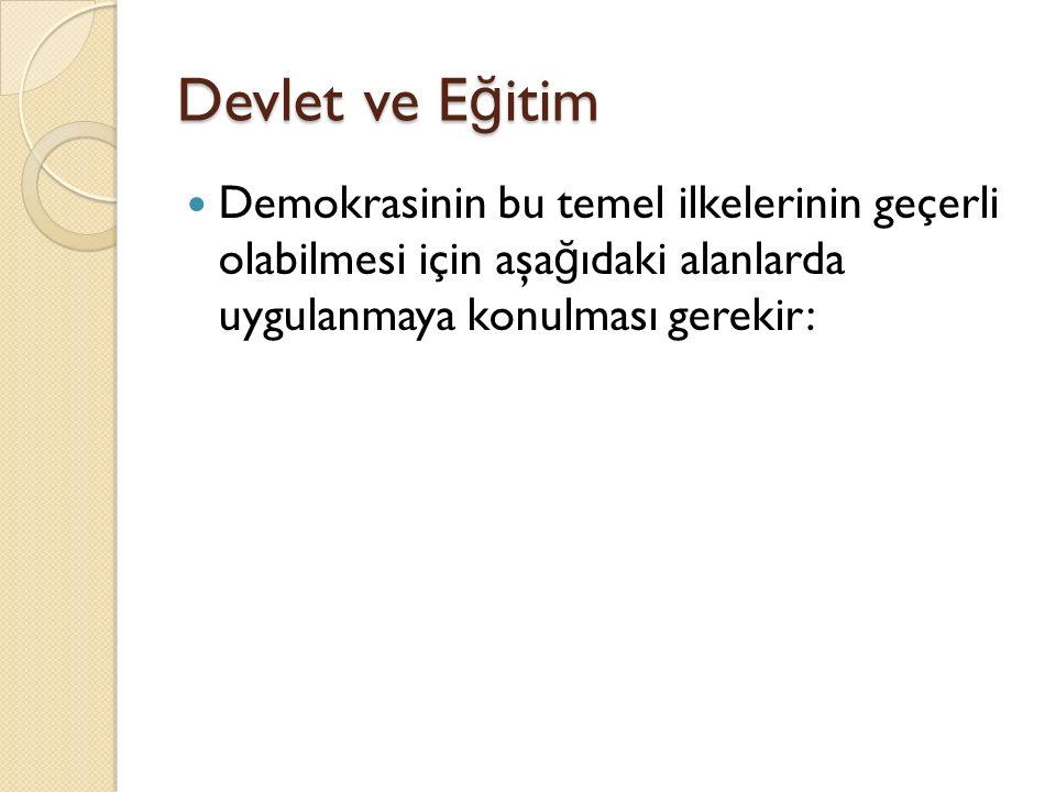 Devlet ve E ğ itim Demokrasinin bu temel ilkelerinin geçerli olabilmesi için aşa ğ ıdaki alanlarda uygulanmaya konulması gerekir: