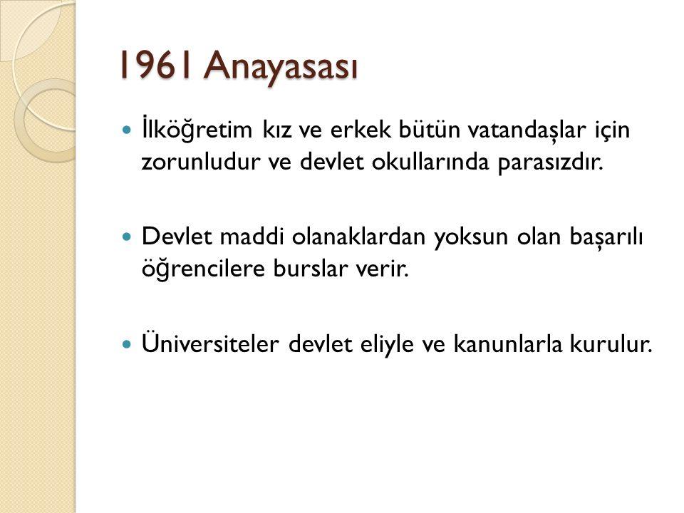 1961 Anayasası İ lkö ğ retim kız ve erkek bütün vatandaşlar için zorunludur ve devlet okullarında parasızdır. Devlet maddi olanaklardan yoksun olan ba