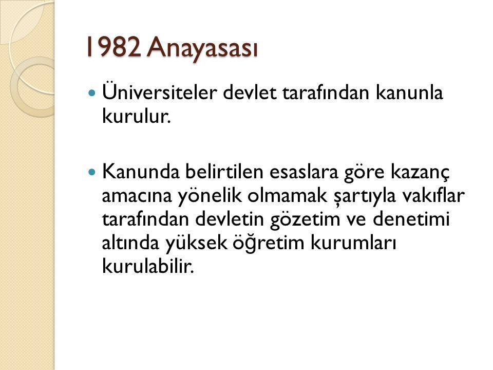 1982 Anayasası Üniversiteler devlet tarafından kanunla kurulur. Kanunda belirtilen esaslara göre kazanç amacına yönelik olmamak şartıyla vakıflar tara