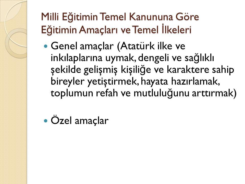 Milli E ğ itimin Temel Kanununa Göre E ğ itimin Amaçları ve Temel İ lkeleri Genel amaçlar (Atatürk ilke ve inkılaplarına uymak, dengeli ve sa ğ lıklı