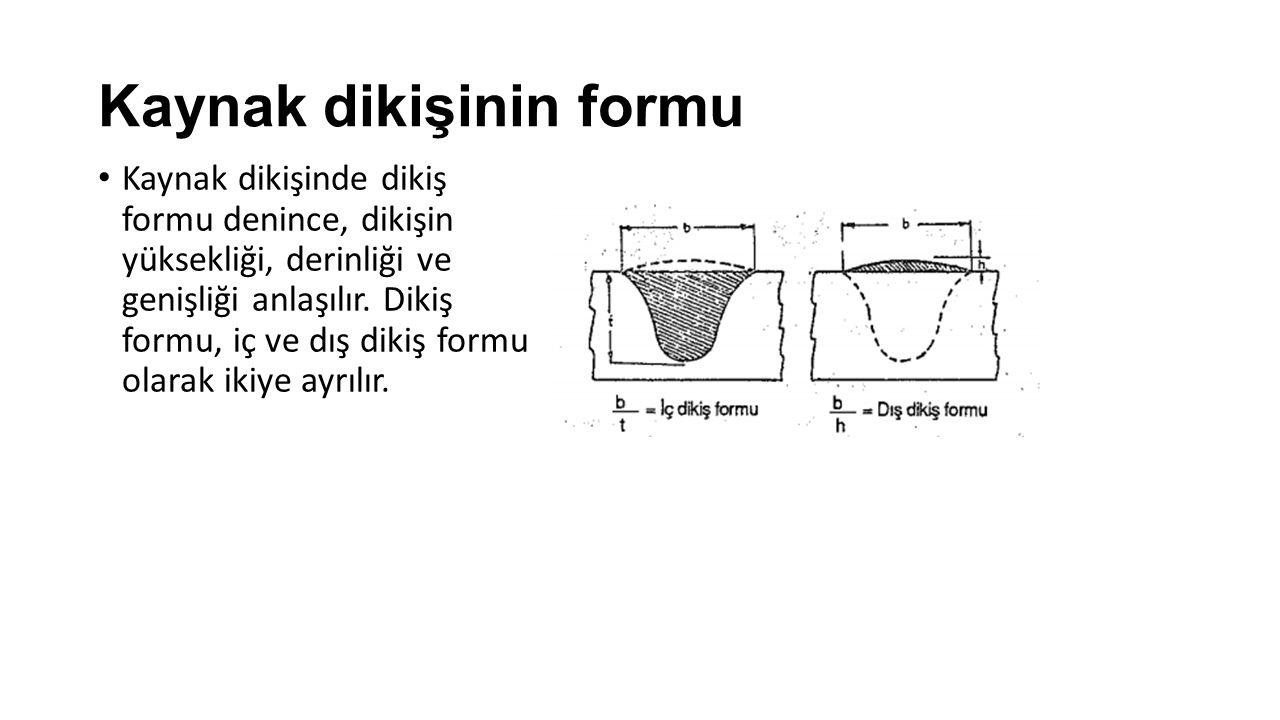 Kaynak dikişinin formu Kaynak dikişinde dikiş formu denince, dikişin yüksekliği, derinliği ve genişliği anlaşılır.