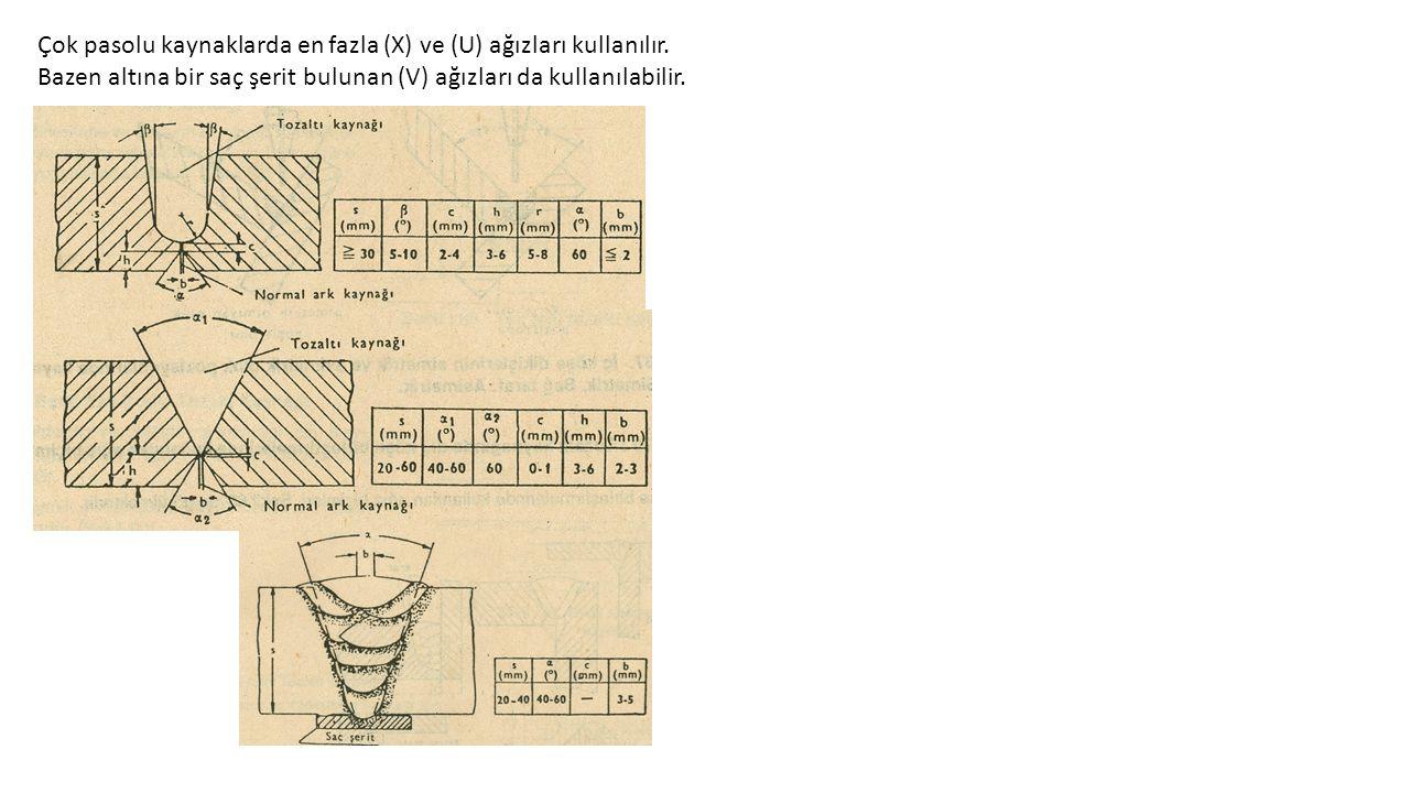 Çok pasolu kaynaklarda en fazla (X) ve (U) ağızları kullanılır.