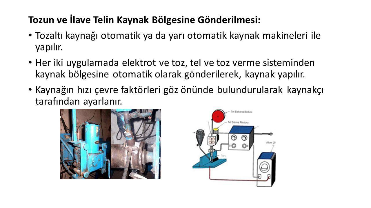 Tozun ve İlave Telin Kaynak Bölgesine Gönderilmesi: Tozaltı kaynağı otomatik ya da yarı otomatik kaynak makineleri ile yapılır.