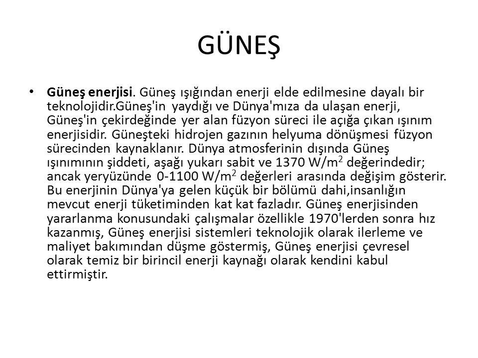 GÜNEŞ Güneş enerjisi.