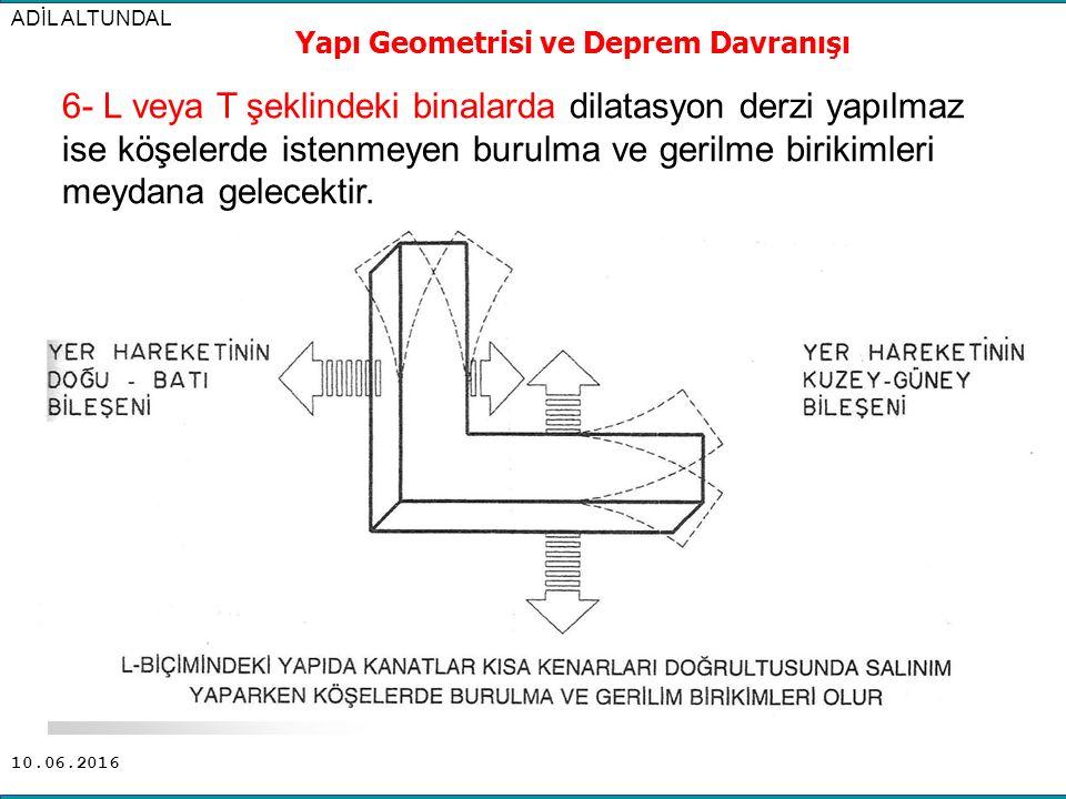 10.06.2016 ADİL ALTUNDAL Yapı Geometrisi ve Deprem Davranışı 6- L veya T şeklindeki binalarda dilatasyon derzi yapılmaz ise köşelerde istenmeyen burul