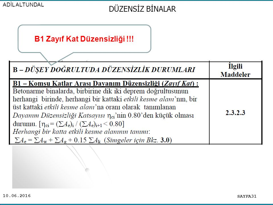10.06.2016 SAYFA31 ADİL ALTUNDAL DÜZENSİZ BİNALAR B1 Zayıf Kat Düzensizliği !!!