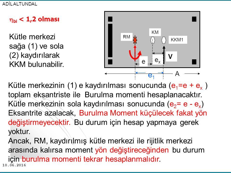 10.06.2016 Kütle merkezinin (1) e kaydırılması sonucunda (e 1 =e + e x ) toplam eksantriste ile Burulma momenti hesaplanacaktır. Kütle merkezinin sola