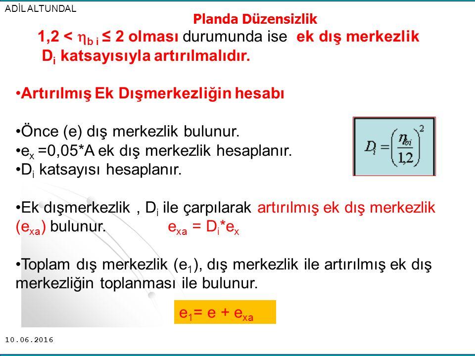 10.06.2016 1,2 <  b i ≤ 2 olması durumunda ise ek dış merkezlik D i katsayısıyla artırılmalıdır. Artırılmış Ek Dışmerkezliğin hesabı Önce (e) dış mer