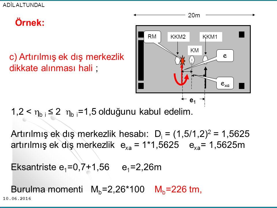 10.06.2016 ADİL ALTUNDAL 1,2 <  b i ≤ 2  b i =1,5 olduğunu kabul edelim. Artırılmış ek dış merkezlik hesabı: D i = (1,5/1,2) 2 = 1,5625 artırılmış e