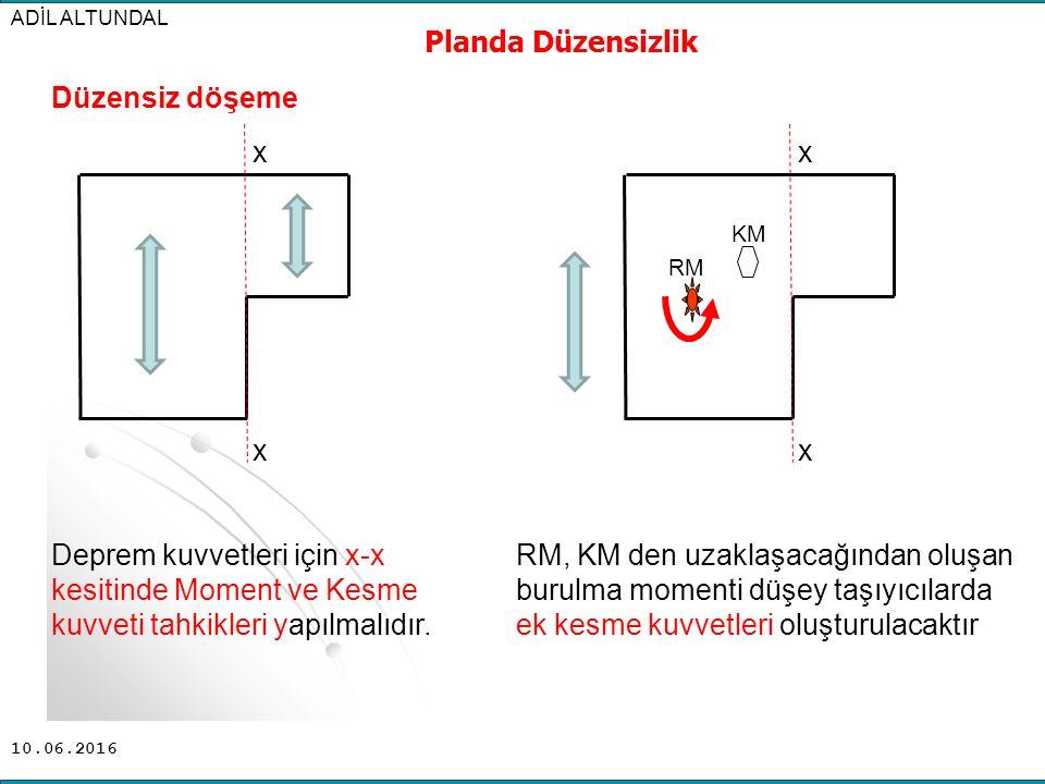 10.06.2016 ADİL ALTUNDAL Planda Düzensizlik Düzensiz döşeme Deprem kuvvetleri için x-x kesitinde Moment ve Kesme kuvveti tahkikleri yapılmalıdır. x x
