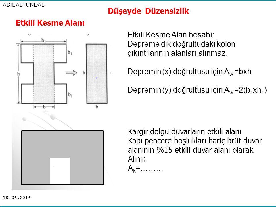 10.06.2016 ADİL ALTUNDAL Düşeyde Düzensizlik Etkili Kesme Alan hesabı: Depreme dik doğrultudaki kolon çıkıntılarının alanları alınmaz. Depremin (x) do