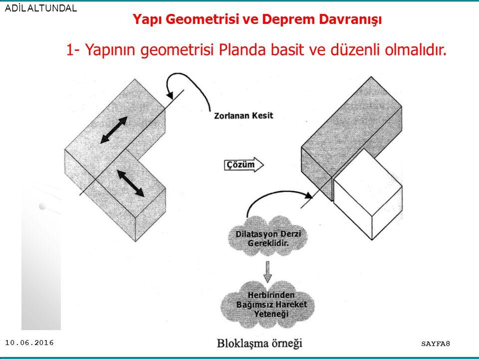 10.06.2016 SAYFA9 ADİL ALTUNDAL Yapı Geometrisi ve Deprem Davranışı 1- Yapının geometrisi Planda basit ve düzenli olmalıdır.