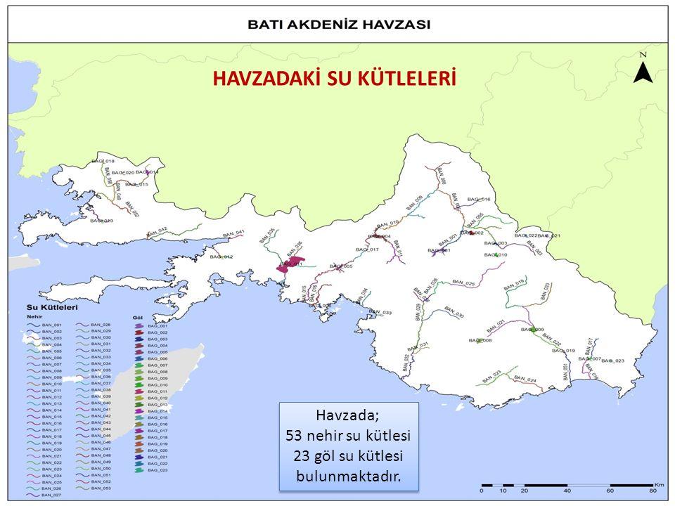 21 Havzada; 53 nehir su kütlesi 23 göl su kütlesi bulunmaktadır.