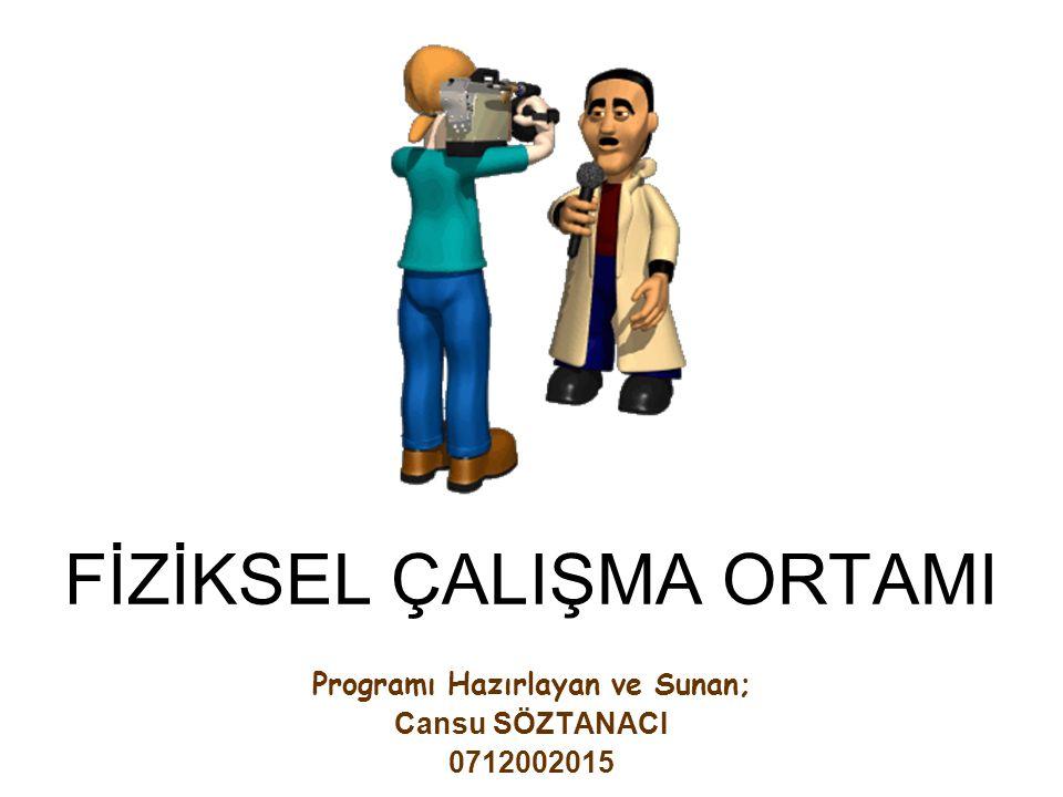 FİZİKSEL ÇALIŞMA ORTAMI Programı Hazırlayan ve Sunan; Cansu SÖZTANACI 0712002015