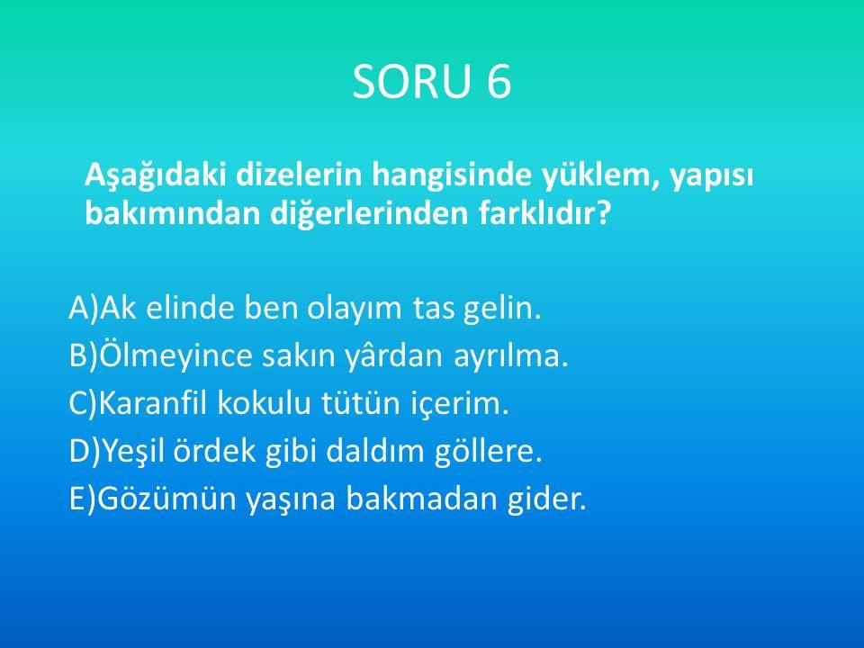 SORU 17 Etmek ve olmak sözcükleri kimi zaman cümlede yardımcı eylem olarak kullanılamaz.