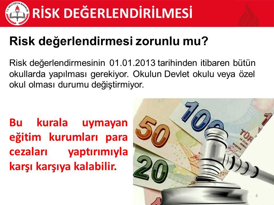 4 Risk değerlendirmesinin 01.01.2013 tarihinden itibaren bütün okullarda yapılması gerekiyor.