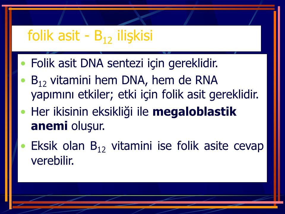 folik asit - B 12 ilişkisi Folik asit DNA sentezi için gereklidir. B 12 vitamini hem DNA, hem de RNA yapımını etkiler; etki için folik asit gereklidir