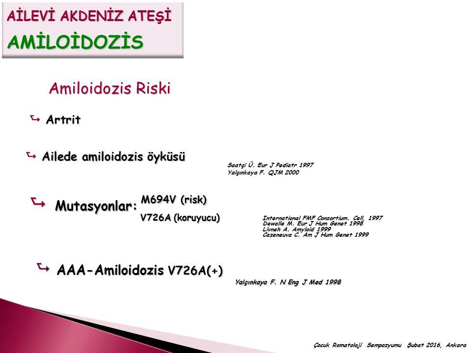 Amiloidozis Riski  Artrit  Ailede amiloidozis öyküsü  Mutasyonlar: V726A (koruyucu) M694V (risk) International FMF Consortium. Cell, 1997 Dewalle M