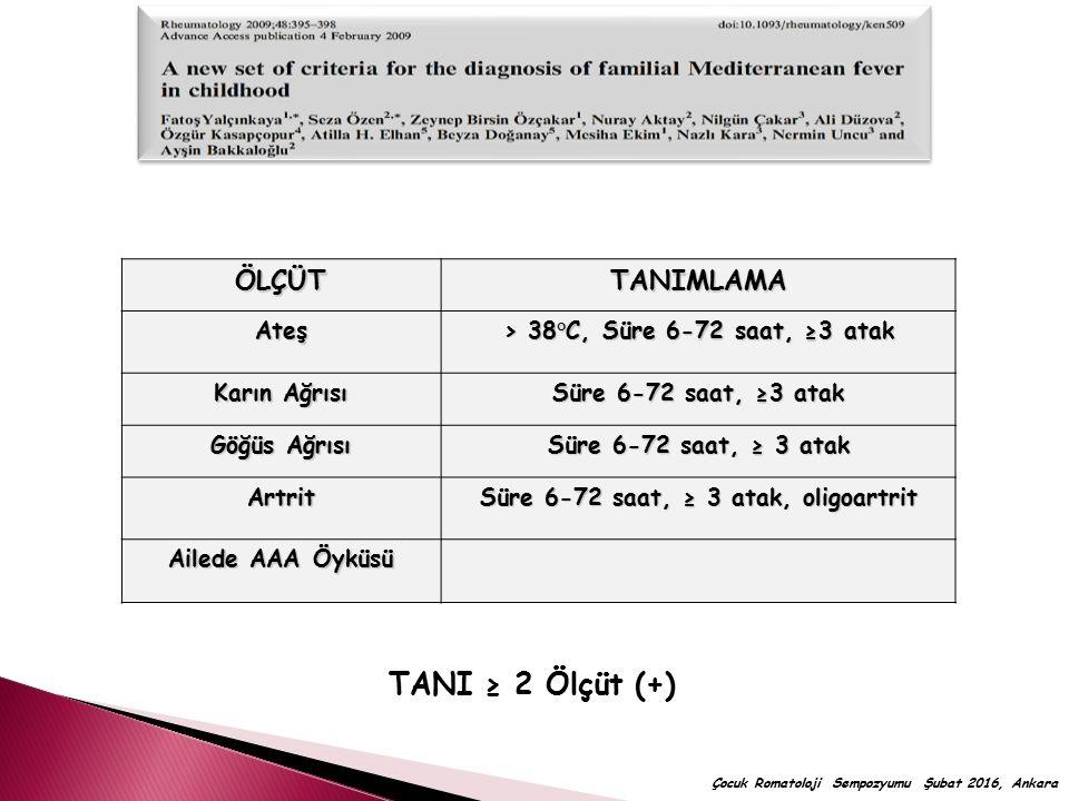 ÖLÇÜTTANIMLAMAAteş > 38°C, Süre 6-72 saat, ≥3 atak Karın Ağrısı Süre 6-72 saat, ≥3 atak Göğüs Ağrısı Süre 6-72 saat, ≥ 3 atak Artrit Süre 6-72 saat, ≥