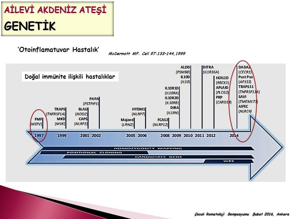 Çocuk Romatoloji Sempozyumu Şubat 2016, Ankara McDermott MF. Cell 97:133–144,1999 'Otoinflamatuvar Hastalık' Doğal immünite ilişkili hastalıklar AİLEV