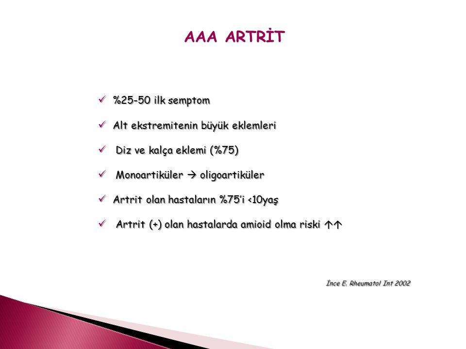 AAA ARTRİT %25-50 ilk semptom %25-50 ilk semptom Alt ekstremitenin büyük eklemleri Alt ekstremitenin büyük eklemleri Diz ve kalça eklemi (%75) Diz ve