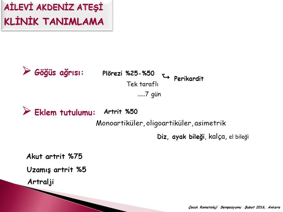 Tanı gecikmesi A) <1 yıl B) 1-5 yıl C) >5 yıl AİLE ÖYKÜSÜNÜ DİKKATLİ SORGULA  %69'unda semptom başlama yaşı <3y  Ailede AAA öyküsü (+)  Çocuk Romatoloji Sempozyumu Şubat 2016, Ankara