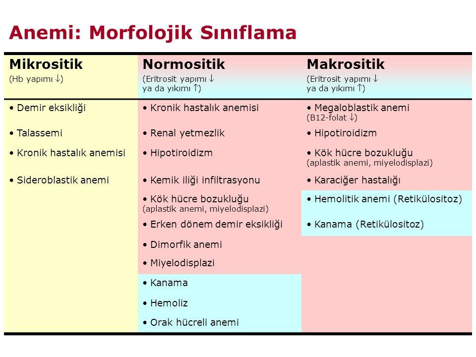 Anemi: Morfolojik Sınıflama Mikrositik (Hb yapımı ) Normositik (Eritrosit yapımı  ya da yıkımı ) Makrositik (Eritrosit yapımı  ya da yıkımı ) Demir eksikliği Kronik hastalık anemisi Megaloblastik anemi (B12-folat ) Talassemi Renal yetmezlik Hipotiroidizm Kronik hastalık anemisi Hipotiroidizm Kök hücre bozukluğu (aplastik anemi, miyelodisplazi) Sideroblastik anemi Kemik iliği infiltrasyonu Karaciğer hastalığı Kök hücre bozukluğu (aplastik anemi, miyelodisplazi) Hemolitik anemi (Retikülositoz) Erken dönem demir eksikliği Kanama (Retikülositoz) Dimorfik anemi Miyelodisplazi Kanama Hemoliz Orak hücreli anemi