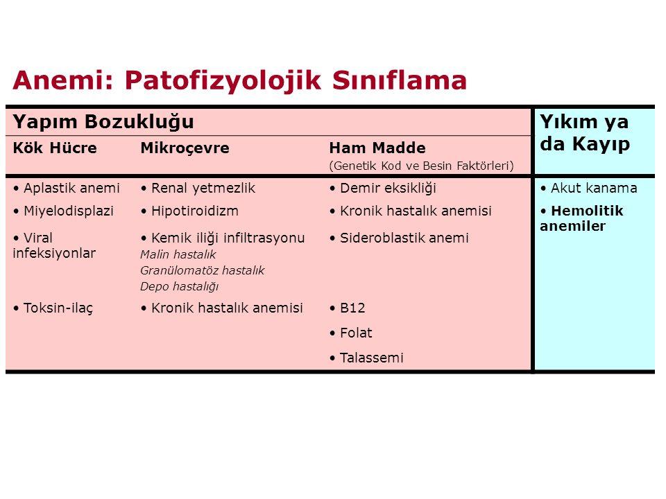 Anemi: Patofizyolojik Sınıflama Yapım BozukluğuYıkım ya da Kayıp Kök HücreMikroçevreHam Madde (Genetik Kod ve Besin Faktörleri) Aplastik anemi Renal yetmezlik Demir eksikliği Akut kanama Miyelodisplazi Hipotiroidizm Kronik hastalık anemisi Hemolitik anemiler Viral infeksiyonlar Kemik iliği infiltrasyonu Malin hastalık Granülomatöz hastalık Depo hastalığı Sideroblastik anemi Toksin-ilaç Kronik hastalık anemisi B12 Folat Talassemi