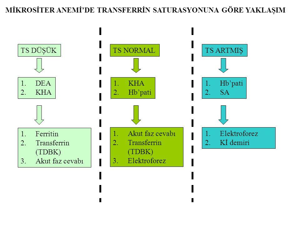 TS DÜŞÜKTS NORMALTS ARTMIŞ 1.DEA 2.KHA 1.KHA 2.Hb'pati 1.Hb'pati 2.SA 1.Ferritin 2.Transferrin (TDBK) 3.Akut faz cevabı 1.Akut faz cevabı 2.Transferrin (TDBK) 3.Elektroforez 1.Elektroforez 2.Kİ demiri MİKROSİTER ANEMİ'DE TRANSFERRİN SATURASYONUNA GÖRE YAKLAŞIM