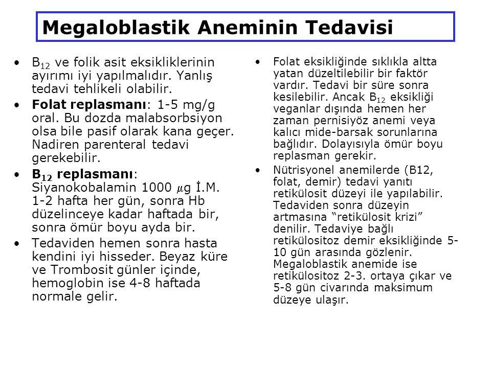 Megaloblastik Aneminin Tedavisi B 12 ve folik asit eksikliklerinin ayırımı iyi yapılmalıdır.