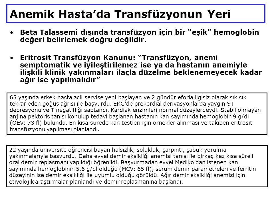 Anemik Hasta'da Transfüzyonun Yeri Beta Talassemi dışında transfüzyon için bir eşik hemoglobin değeri belirlemek doğru değildir.