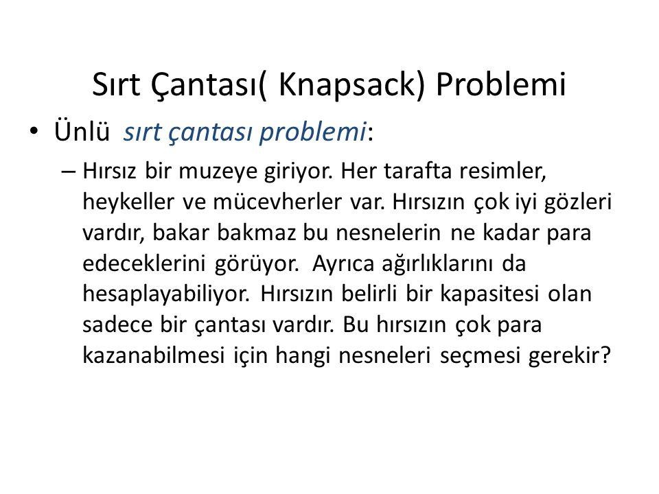 Sırt Çantası( Knapsack) Problemi Ünlü sırt çantası problemi: – Hırsız bir muzeye giriyor.