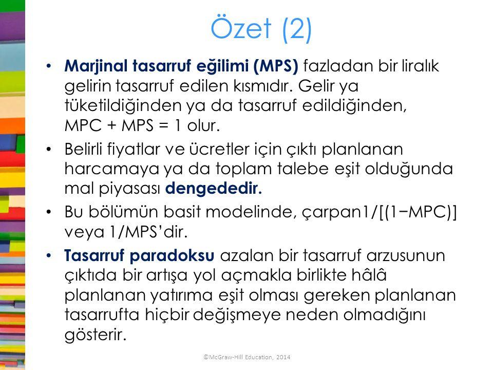 Özet (2) Marjinal tasarruf eğilimi (MPS) fazladan bir liralık gelirin tasarruf edilen kısmıdır. Gelir ya tüketildiğinden ya da tasarruf edildiğinden,